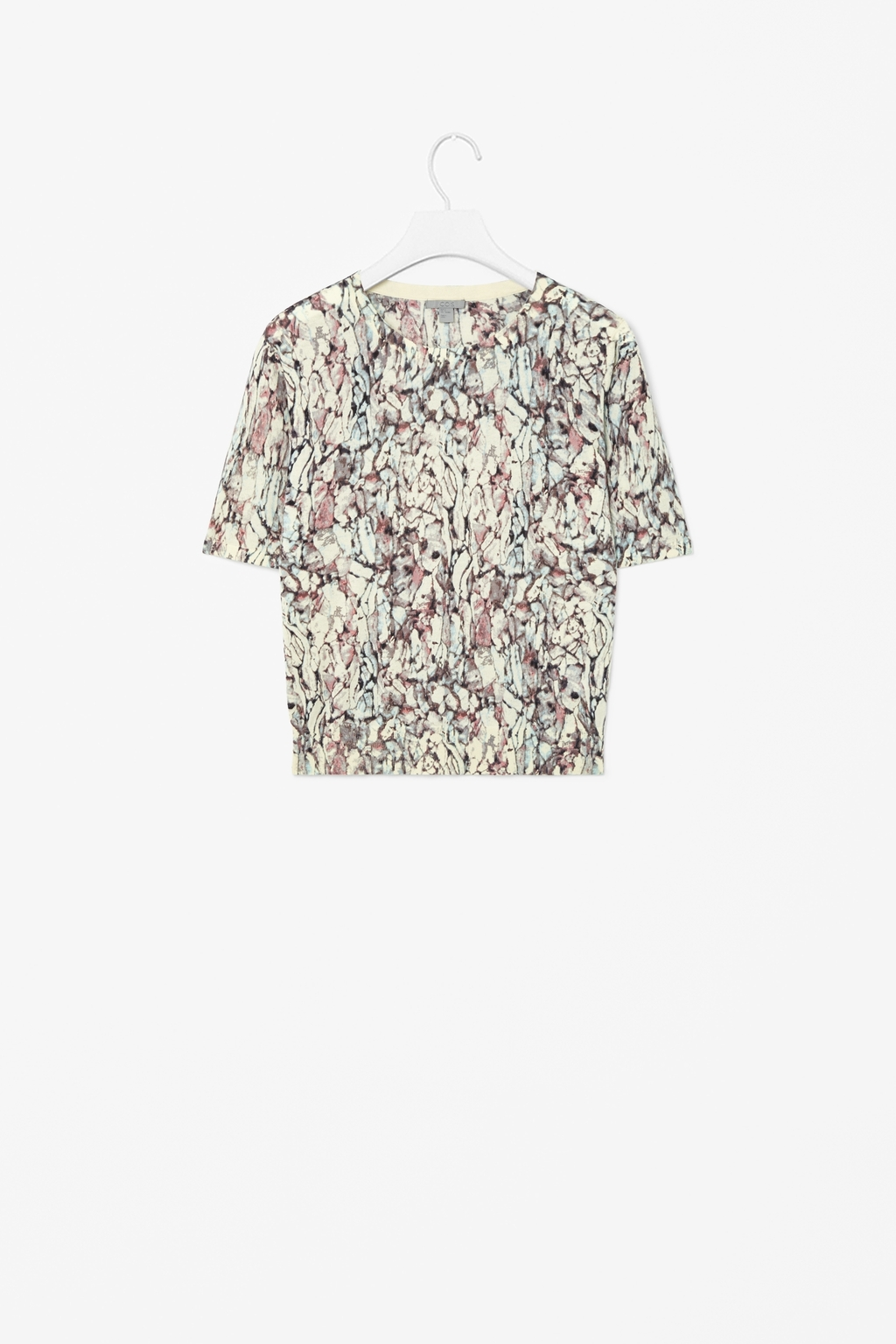 Printed Short Sleeved Top - neckline: round neck; style: t-shirt; predominant colour: stone; secondary colour: charcoal; occasions: casual; length: standard; fibres: cotton - 100%; fit: straight cut; sleeve length: short sleeve; sleeve style: standard; texture group: cotton feel fabrics; pattern type: fabric; pattern size: standard; pattern: patterned/print; season: s/s 2014
