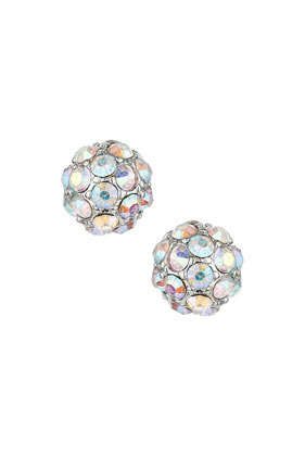 Sparkle Ball Stud Earrings - predominant colour: white; occasions: casual, evening, occasion, creative work; style: stud; length: short; size: standard; material: chain/metal; fastening: pierced; finish: metallic; embellishment: crystals/glass; season: s/s 2014