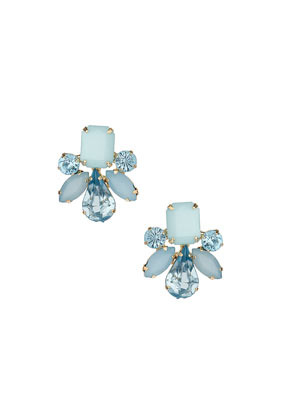 Blue Stone Stud Earrings - predominant colour: pale blue; secondary colour: denim; occasions: casual, evening, occasion, creative work; style: stud; length: short; size: standard; material: chain/metal; fastening: pierced; finish: metallic; embellishment: jewels/stone; trends: sorbet shades; season: s/s 2014