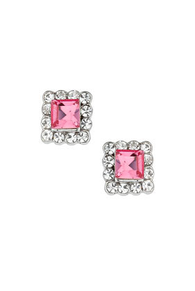 Pink Sparkle Square Studs - predominant colour: pink; secondary colour: silver; occasions: casual, evening, occasion, creative work; style: stud; length: short; size: standard; material: chain/metal; fastening: pierced; finish: metallic; embellishment: jewels/stone; season: s/s 2014