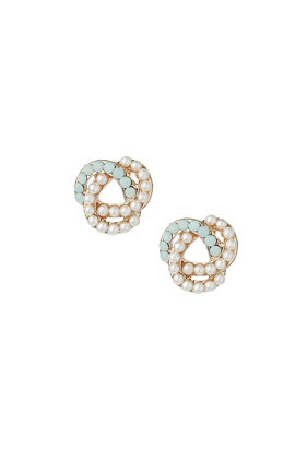 Coloured Rope Knot Studs - predominant colour: white; secondary colour: light grey; occasions: evening, work, occasion, creative work; style: stud; length: short; size: standard; material: chain/metal; fastening: pierced; finish: metallic; embellishment: pearls; season: s/s 2014