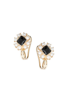 Black Square Earcuff - predominant colour: gold; secondary colour: black; occasions: evening, occasion; style: drop; length: short; size: standard; material: chain/metal; fastening: pierced; finish: metallic; embellishment: jewels/stone; season: s/s 2014