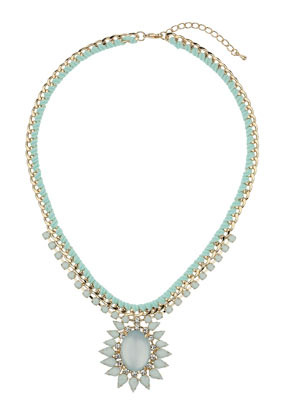 Large Oval Stone Necklace - predominant colour: pistachio; secondary colour: light grey; occasions: evening, occasion; length: mid; size: large/oversized; material: chain/metal; finish: metallic; embellishment: jewels/stone; style: bib/statement; season: s/s 2014