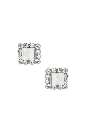 White Sparkle Square Studs - predominant colour: white; occasions: casual, evening, work, occasion, creative work; style: stud; length: short; size: standard; material: chain/metal; fastening: pierced; finish: metallic; embellishment: crystals/glass; season: s/s 2014