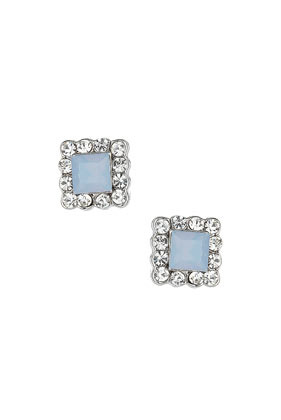 Blue Sparkle Square Studs - predominant colour: pale blue; occasions: evening, occasion; style: stud; length: short; size: standard; material: chain/metal; fastening: pierced; finish: metallic; embellishment: jewels/stone; secondary colour: clear; trends: summer sparkle; season: s/s 2014