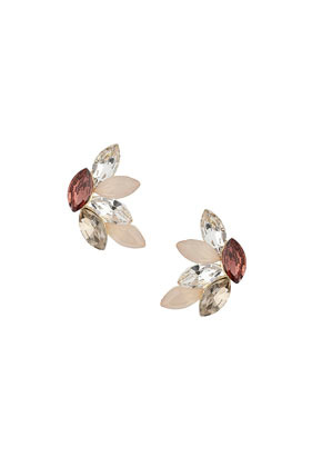 Pink Petal Stud Earrings - occasions: evening, occasion; predominant colour: multicoloured; style: stud; length: short; size: standard; material: chain/metal; fastening: pierced; finish: metallic; embellishment: jewels/stone; trends: summer sparkle; season: s/s 2014; multicoloured: multicoloured