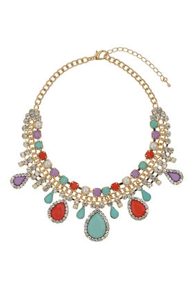Pastel Stone Bling Necklace - secondary colour: pistachio; predominant colour: gold; occasions: evening, occasion; length: short; size: large/oversized; material: chain/metal; finish: metallic; embellishment: jewels/stone; style: bib/statement; season: s/s 2014; multicoloured: multicoloured