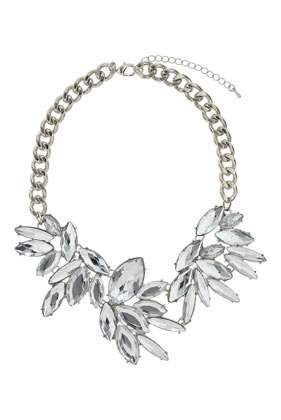 Petal Sparkle Stone Necklace - secondary colour: white; predominant colour: silver; occasions: evening, occasion; length: short; size: large/oversized; material: chain/metal; finish: metallic; embellishment: crystals/glass; style: bib/statement; season: s/s 2014
