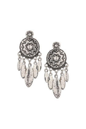 Engraved Flower Disc Earrings - predominant colour: silver; occasions: evening, occasion; style: chandelier; length: mid; size: standard; material: chain/metal; fastening: pierced; finish: metallic; season: s/s 2014