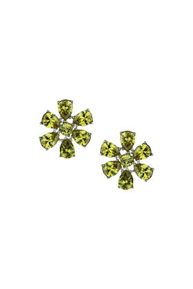 Premium Green Flower Stud Earrings - predominant colour: emerald green; occasions: casual, evening, occasion, creative work; style: stud; length: short; size: standard; material: chain/metal; fastening: pierced; finish: metallic; embellishment: jewels/stone; season: s/s 2014