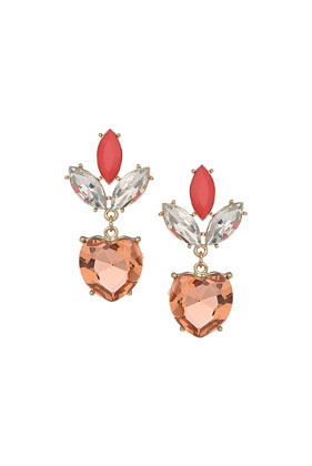 Premium Faceted Heart Earrings - predominant colour: coral; occasions: evening, occasion; style: drop; length: mid; size: standard; material: chain/metal; fastening: pierced; finish: metallic; embellishment: jewels/stone; secondary colour: clear; trends: summer sparkle; season: s/s 2014