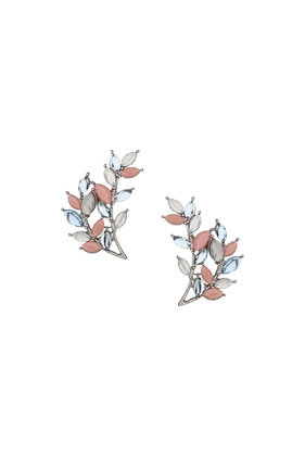 Leaf Shaped Stone Earrings - secondary colour: camel; predominant colour: silver; occasions: casual, evening, occasion, creative work; style: stud; length: short; size: standard; material: chain/metal; fastening: pierced; finish: metallic; embellishment: jewels/stone; trends: summer sparkle; season: s/s 2014