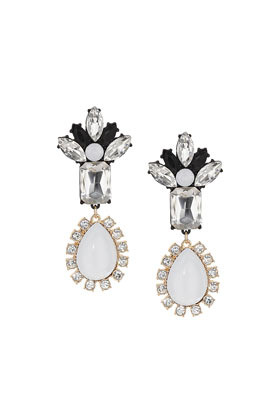 Premium White Teardrop Earrings - predominant colour: white; secondary colour: black; occasions: evening, occasion; style: drop; length: mid; size: standard; material: chain/metal; fastening: pierced; finish: metallic; embellishment: crystals/glass; trends: summer sparkle; season: s/s 2014