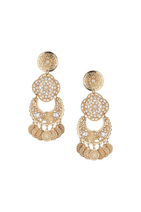 Circular Drop Earrings - predominant colour: gold; occasions: evening, occasion; style: chandelier; length: long; size: large/oversized; material: chain/metal; fastening: pierced; finish: plain; embellishment: crystals/glass; season: s/s 2014