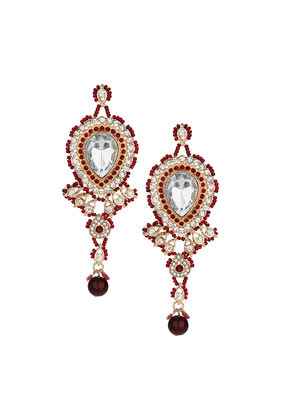 Premium Teardrop Stone Earrings - secondary colour: burgundy; predominant colour: gold; occasions: evening, occasion; style: drop; length: long; size: standard; material: chain/metal; fastening: pierced; finish: metallic; embellishment: crystals/glass; season: s/s 2014