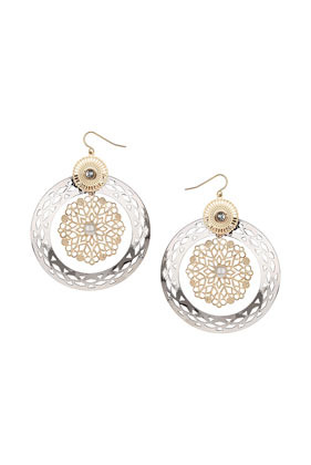Open Hoop Filigree Earrings - predominant colour: silver; secondary colour: gold; occasions: casual, evening, creative work; style: drop; length: mid; size: standard; material: chain/metal; fastening: pierced; finish: metallic; trends: world traveller; season: s/s 2014