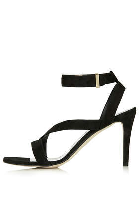 Real Asymmetric Sandals - predominant colour: black; occasions: evening, occasion; material: leather; ankle detail: ankle strap; heel: stiletto; toe: open toe/peeptoe; style: standard; finish: plain; pattern: plain; heel height: very high; season: s/s 2014