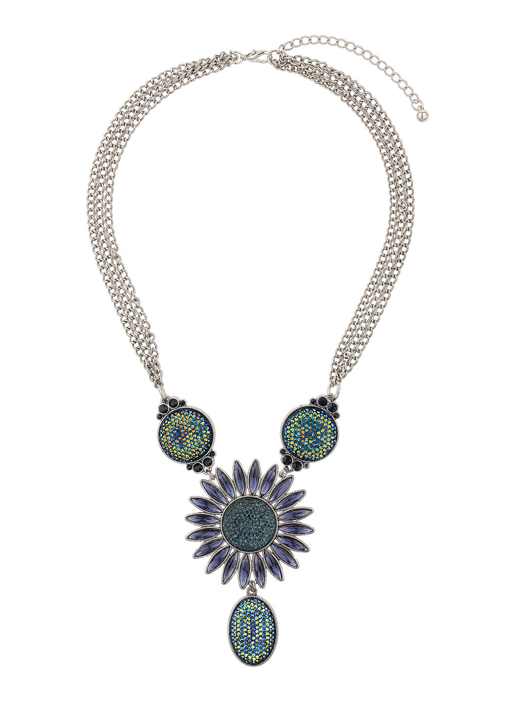 Blue Sparkle Flower Necklace - secondary colour: navy; predominant colour: silver; occasions: evening, occasion, creative work; length: mid; size: large/oversized; material: chain/metal; finish: metallic; embellishment: jewels/stone; style: bib/statement; season: s/s 2014