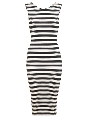 Stripe X Back Midi - length: below the knee; neckline: round neck; fit: tight; pattern: horizontal stripes; sleeve style: sleeveless; style: bodycon; predominant colour: white; secondary colour: black; occasions: evening; fibres: viscose/rayon - stretch; sleeve length: sleeveless; pattern type: fabric; pattern size: standard; texture group: jersey - stretchy/drapey; season: s/s 2014; trends: monochrome