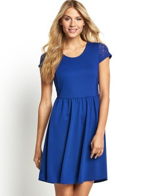 Short Sleeve Lace Panel Dress, Green - neckline: round neck; pattern: plain; predominant colour: royal blue; occasions: evening, creative work; length: just above the knee; fit: fitted at waist & bust; style: fit & flare; fibres: polyester/polyamide - 100%; sleeve length: short sleeve; sleeve style: standard; pattern type: fabric; texture group: jersey - stretchy/drapey; trends: lace; season: s/s 2014