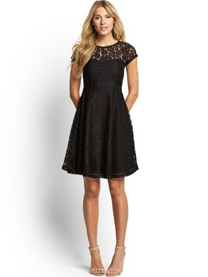 South Short Sleeve Lace Insert Skater Dress, Black - shoulder detail: contrast pattern/fabric at shoulder; predominant colour: black; occasions: evening, occasion; length: just above the knee; fit: fitted at waist & bust; style: fit & flare; fibres: polyester/polyamide - 100%; neckline: crew; hip detail: soft pleats at hip/draping at hip/flared at hip; sleeve length: short sleeve; sleeve style: standard; texture group: lace; pattern: patterned/print; embellishment: lace; trends: lace; season: s/s 2014