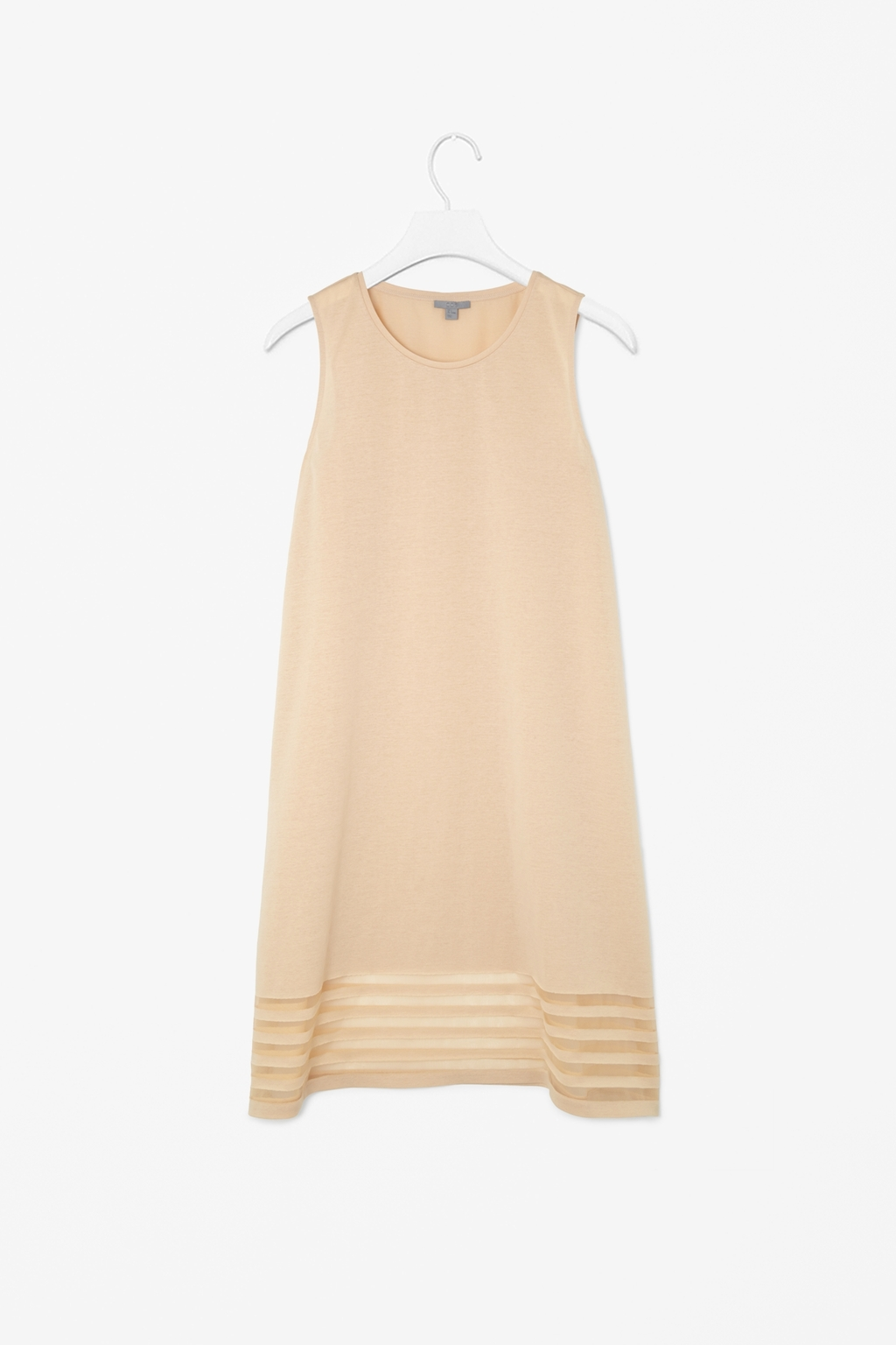 Dress With Sheer Stripes - style: trapeze; length: mid thigh; neckline: round neck; pattern: plain; sleeve style: sleeveless; predominant colour: stone; fit: soft a-line; fibres: cotton - mix; occasions: occasion, creative work; sleeve length: sleeveless; pattern type: fabric; texture group: other - light to midweight; season: s/s 2014