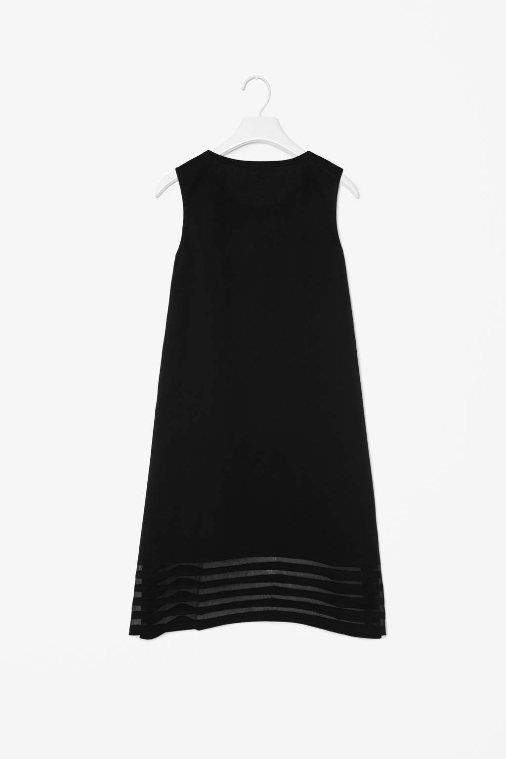 Dress With Sheer Stripes - style: trapeze; length: mid thigh; neckline: round neck; pattern: plain; sleeve style: sleeveless; predominant colour: black; occasions: evening, occasion, creative work; fit: soft a-line; sleeve length: sleeveless; pattern type: fabric; texture group: other - light to midweight; season: s/s 2014