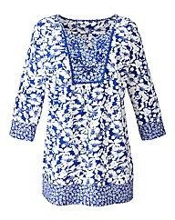 Embellished Cotton Jersey Tunic - neckline: round neck; length: below the bottom; style: tunic; secondary colour: ivory/cream; predominant colour: royal blue; occasions: casual, holiday; fibres: cotton - 100%; fit: loose; sleeve length: 3/4 length; sleeve style: standard; pattern type: fabric; pattern size: standard; pattern: florals; texture group: jersey - stretchy/drapey; season: s/s 2014