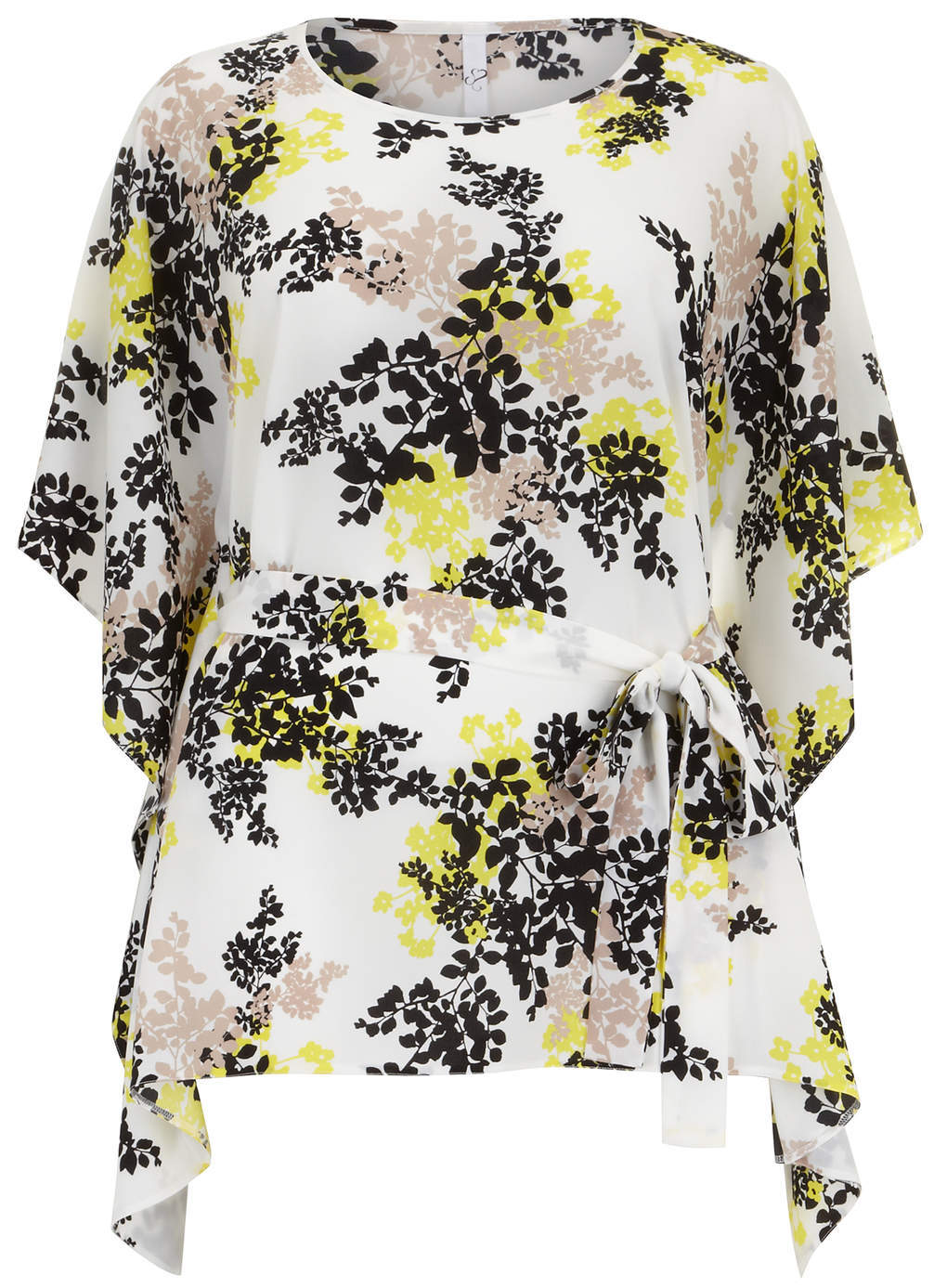 Ivory Floral Print Top - neckline: round neck; sleeve style: kimono; waist detail: belted waist/tie at waist/drawstring; predominant colour: white; secondary colour: yellow; occasions: casual, evening, holiday; length: standard; style: top; fibres: polyester/polyamide - 100%; fit: body skimming; sleeve length: 3/4 length; pattern type: fabric; pattern: florals; texture group: other - light to midweight; season: s/s 2014
