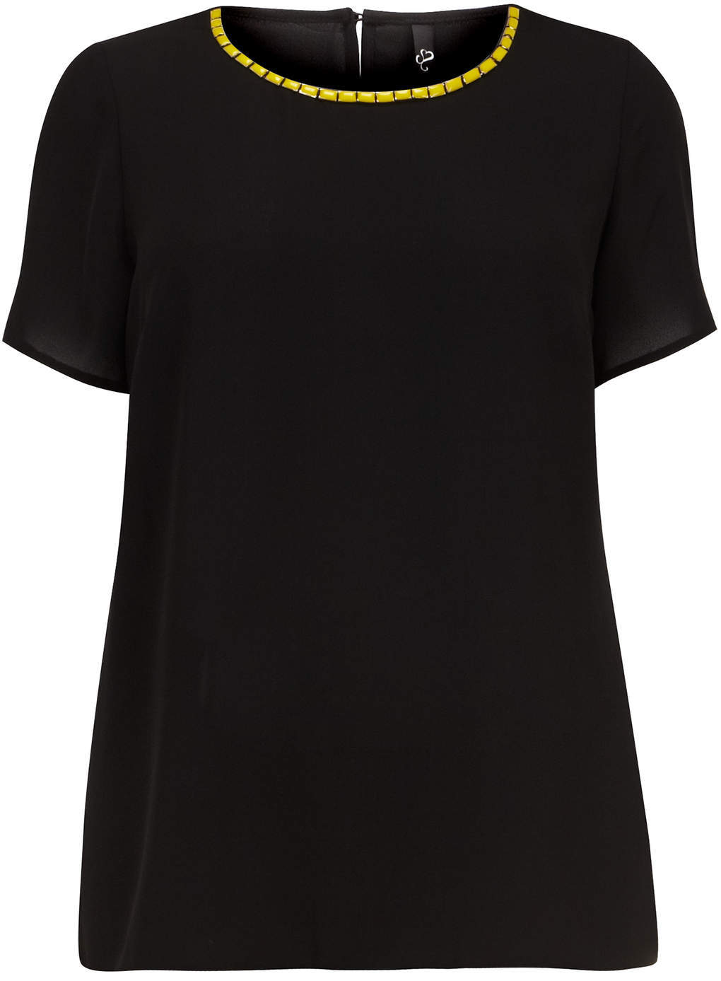 Black Enamel Neck Trim Top - neckline: round neck; pattern: plain; length: below the bottom; style: t-shirt; secondary colour: yellow; predominant colour: black; occasions: casual, evening, creative work; fibres: polyester/polyamide - 100%; fit: straight cut; sleeve length: short sleeve; sleeve style: standard; texture group: crepes; pattern type: fabric; embellishment: jewels/stone; trends: hot brights; season: s/s 2014
