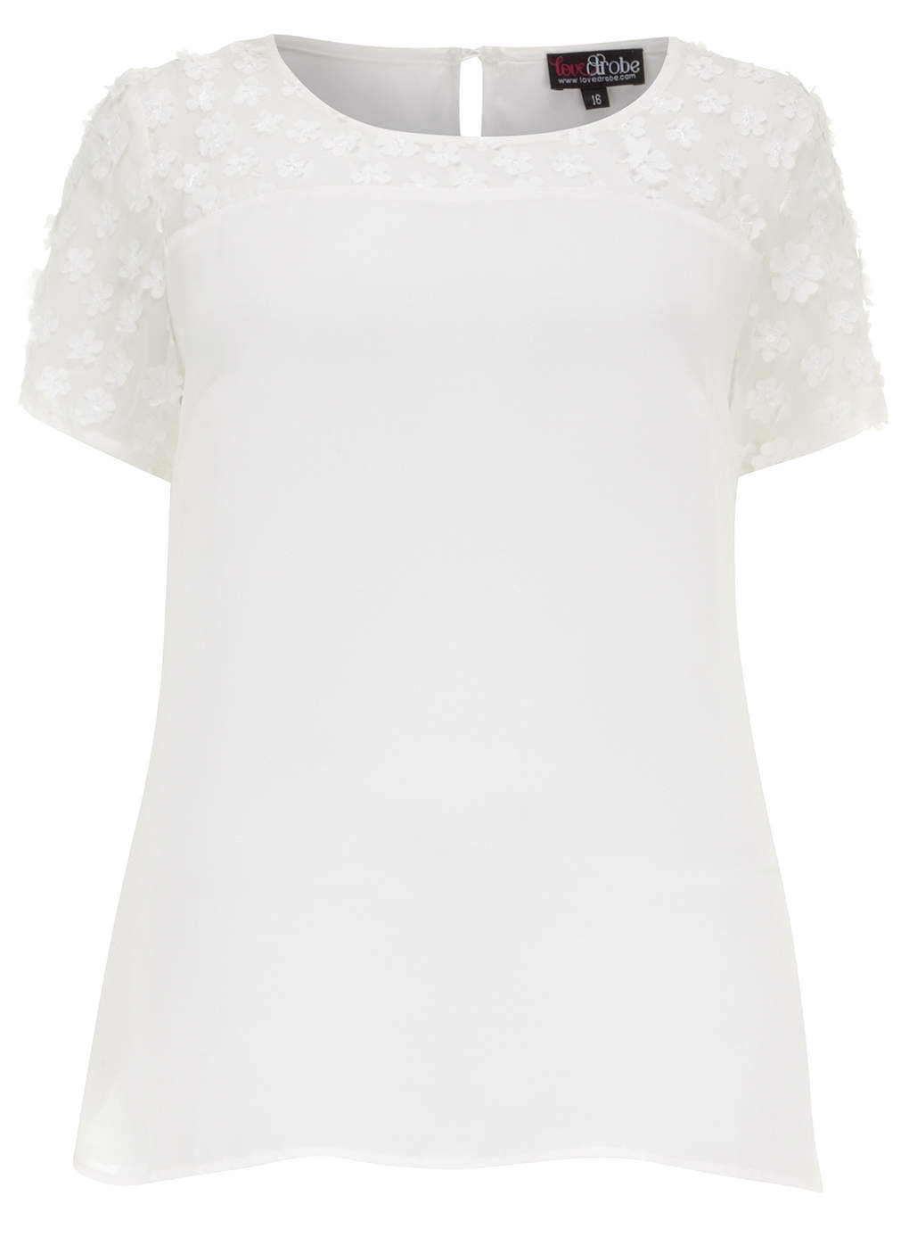 Lovedrobe Ivory Flower Trim Top - neckline: round neck; pattern: plain; style: t-shirt; predominant colour: white; occasions: casual, creative work; length: standard; fibres: polyester/polyamide - 100%; fit: straight cut; shoulder detail: added shoulder detail; sleeve length: short sleeve; sleeve style: standard; texture group: crepes; pattern type: fabric; season: s/s 2014