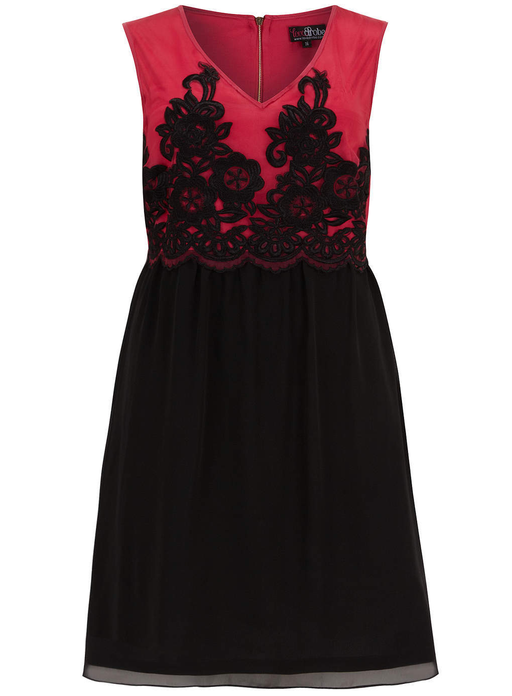 Lovedrobe Black And Pink Embroidered Dress - style: shift; neckline: v-neck; fit: empire; sleeve style: sleeveless; secondary colour: true red; predominant colour: black; occasions: evening; length: just above the knee; fibres: polyester/polyamide - 100%; sleeve length: sleeveless; pattern type: fabric; pattern size: standard; pattern: colourblock; texture group: other - light to midweight; embellishment: embroidered; season: s/s 2014; wardrobe: event; embellishment location: top