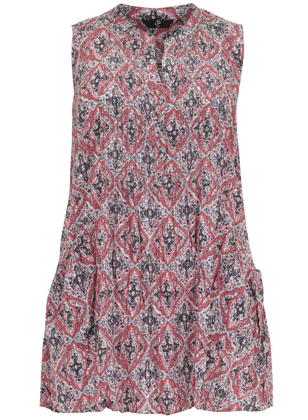 Multi Print Crinkle Tunic - sleeve style: sleeveless; length: below the bottom; style: tunic; pattern: paisley; predominant colour: terracotta; secondary colour: black; occasions: casual; neckline: collarstand & mandarin with v-neck; fibres: viscose/rayon - 100%; fit: loose; sleeve length: sleeveless; texture group: cotton feel fabrics; pattern type: fabric; season: s/s 2014; pattern size: big & busy (top)