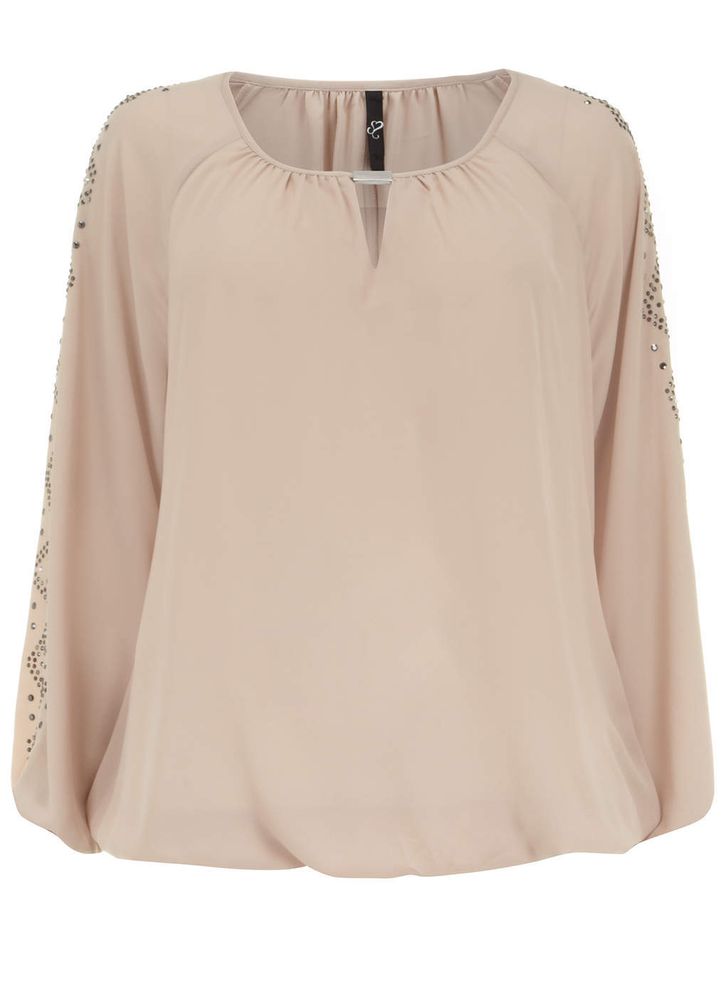 Nude Hot Fix Embellished Top - neckline: round neck; pattern: plain; style: blouse; predominant colour: nude; occasions: evening; length: standard; fibres: polyester/polyamide - 100%; fit: loose; sleeve length: long sleeve; sleeve style: standard; texture group: crepes; pattern type: fabric; embellishment: crystals/glass; season: s/s 2014