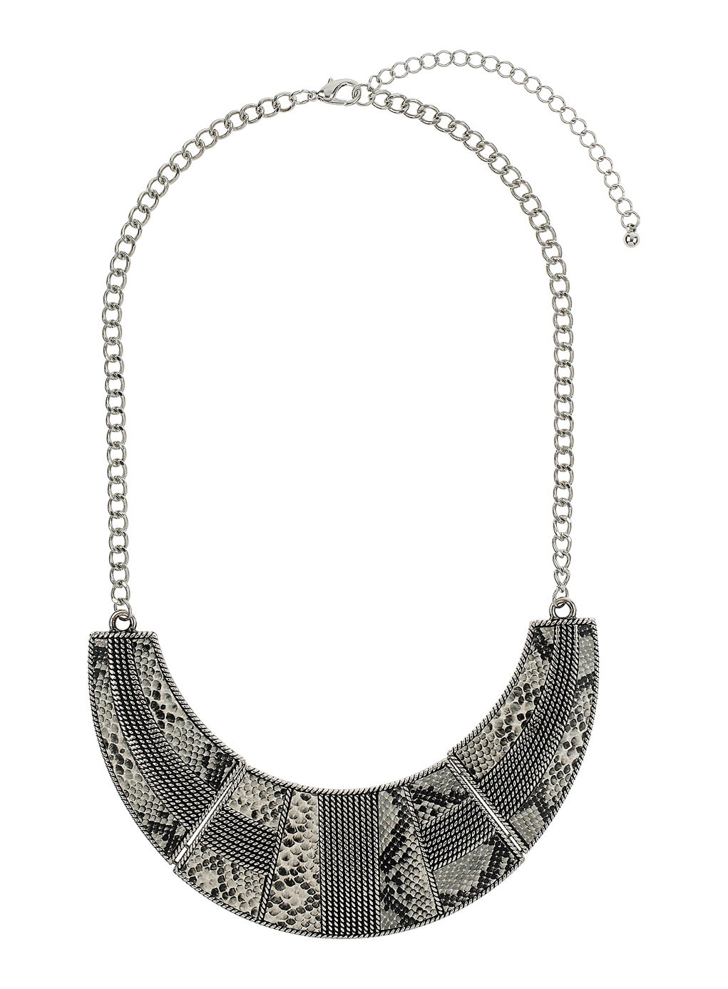 Snake Print Collar Necklace - predominant colour: silver; secondary colour: charcoal; occasions: evening, creative work; length: mid; size: large/oversized; material: chain/metal; finish: metallic; style: bib/statement; season: s/s 2014