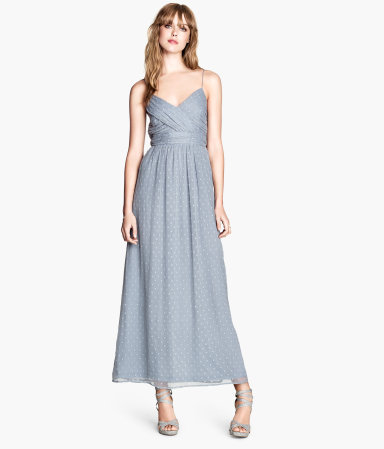 Long Dress - neckline: low v-neck; sleeve style: spaghetti straps; style: maxi dress; length: ankle length; pattern: polka dot; secondary colour: ivory/cream; predominant colour: pale blue; occasions: evening; fit: fitted at waist & bust; fibres: polyester/polyamide - 100%; sleeve length: sleeveless; texture group: sheer fabrics/chiffon/organza etc.; pattern type: fabric; pattern size: light/subtle; season: s/s 2014