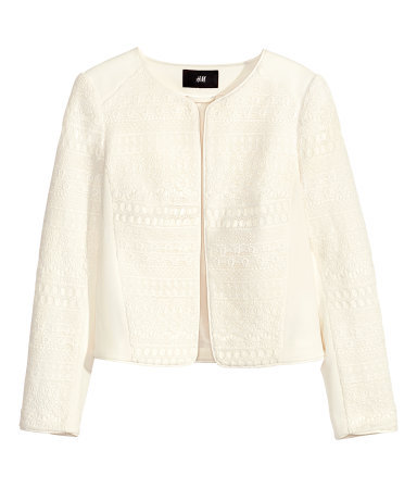 Lace Jacket - pattern: plain; collar: round collar/collarless; style: boxy; predominant colour: ivory/cream; occasions: casual, evening, occasion, creative work; length: standard; fit: straight cut (boxy); fibres: polyester/polyamide - mix; sleeve length: long sleeve; sleeve style: standard; collar break: low/open; pattern type: fabric; texture group: woven light midweight; trends: lace; season: s/s 2014