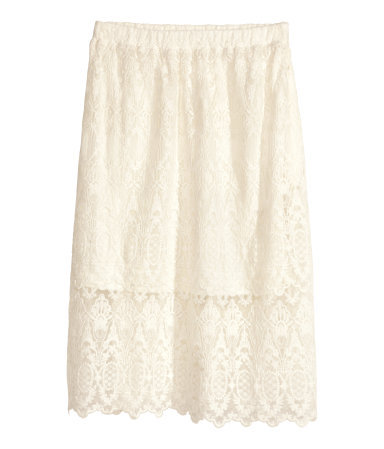 Lace Skirt - length: calf length; style: full/prom skirt; fit: loose/voluminous; waist detail: elasticated waist; waist: mid/regular rise; predominant colour: ivory/cream; occasions: casual, evening, creative work; fibres: cotton - mix; hip detail: subtle/flattering hip detail; texture group: lace; pattern type: fabric; pattern: patterned/print; season: s/s 2014; wardrobe: highlight
