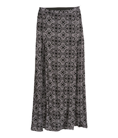 Maxi Skirt - fit: loose/voluminous; waist: mid/regular rise; secondary colour: white; predominant colour: black; occasions: casual, holiday; length: floor length; style: maxi skirt; fibres: viscose/rayon - 100%; pattern type: fabric; pattern: patterned/print; texture group: jersey - stretchy/drapey; season: s/s 2014; trends: monochrome; pattern size: standard (bottom)
