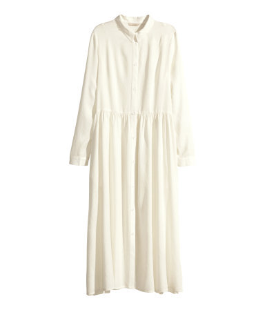 Long Shirt Dress - style: shirt; length: calf length; neckline: shirt collar/peter pan/zip with opening; fit: loose; pattern: plain; predominant colour: ivory/cream; occasions: casual, evening, creative work; sleeve length: long sleeve; sleeve style: standard; pattern type: fabric; texture group: other - light to midweight; fibres: viscose/rayon - mix; season: s/s 2014