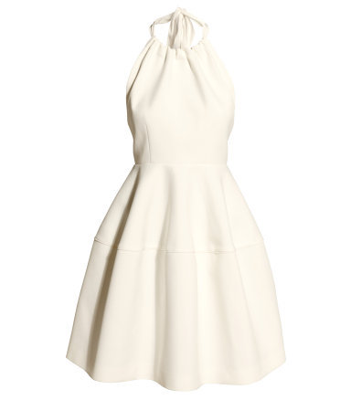 Flared Dress - pattern: plain; sleeve style: sleeveless; neckline: low halter neck; back detail: low cut/open back; predominant colour: ivory/cream; occasions: evening, occasion; length: just above the knee; fit: fitted at waist & bust; style: fit & flare; fibres: polyester/polyamide - stretch; sleeve length: sleeveless; pattern type: fabric; texture group: woven light midweight; season: s/s 2014