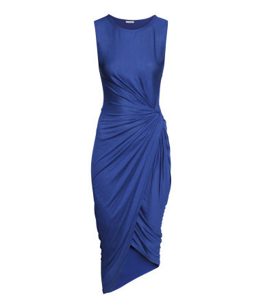 Draped Dress - neckline: round neck; fit: tight; pattern: plain; sleeve style: sleeveless; waist detail: twist front waist detail/nipped in at waist on one side/soft pleats/draping/ruching/gathering waist detail; predominant colour: royal blue; occasions: casual, evening; length: on the knee; style: asymmetric (hem); fibres: viscose/rayon - stretch; hip detail: soft pleats at hip/draping at hip/flared at hip; sleeve length: sleeveless; pattern type: fabric; texture group: jersey - stretchy/drapey; season: s/s 2014