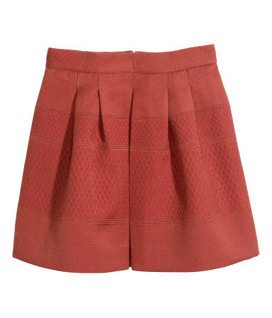 Jacquard Weave Skirt - length: mid thigh; pattern: plain; style: full/prom skirt; fit: loose/voluminous; waist: mid/regular rise; predominant colour: true red; occasions: evening; fibres: polyester/polyamide - mix; pattern type: fabric; texture group: brocade/jacquard; season: s/s 2014