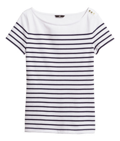 Striped Top - neckline: slash/boat neckline; pattern: horizontal stripes; style: t-shirt; secondary colour: white; predominant colour: navy; occasions: casual; length: standard; fit: body skimming; shoulder detail: added shoulder detail; sleeve length: short sleeve; sleeve style: standard; pattern type: fabric; pattern size: standard; texture group: jersey - stretchy/drapey; season: s/s 2014
