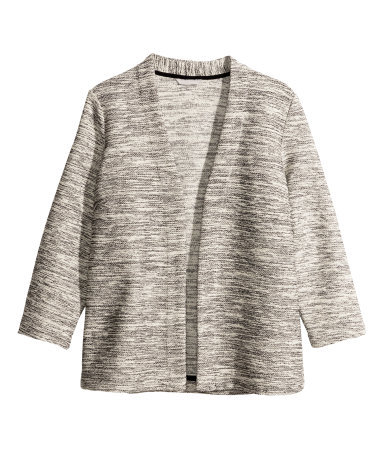 Marled Cardigan - neckline: collarless open; style: open front; predominant colour: light grey; occasions: casual, creative work; length: standard; fibres: polyester/polyamide - mix; fit: standard fit; sleeve length: 3/4 length; sleeve style: standard; texture group: knits/crochet; pattern type: knitted - fine stitch; pattern: patterned/print; season: s/s 2014
