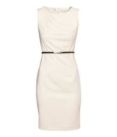 Figure Fit Dress - style: shift; fit: tailored/fitted; pattern: plain; sleeve style: sleeveless; waist detail: belted waist/tie at waist/drawstring; predominant colour: ivory/cream; occasions: casual, evening, work; length: just above the knee; fibres: polyester/polyamide - mix; neckline: crew; sleeve length: sleeveless; pattern type: fabric; texture group: woven light midweight; season: s/s 2014