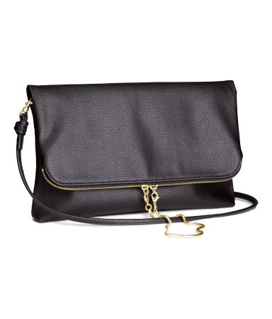 Clutch Bag - secondary colour: gold; predominant colour: black; occasions: casual, evening; type of pattern: standard; style: clutch; length: hand carry; size: standard; material: faux leather; embellishment: zips; pattern: plain; finish: plain; season: s/s 2014