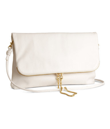 Clutch Bag - predominant colour: white; secondary colour: gold; occasions: casual, evening; style: clutch; length: hand carry; size: standard; material: faux leather; embellishment: zips; pattern: plain; finish: plain; season: s/s 2014