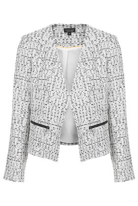 Boucle Zip Blazer - style: single breasted blazer; collar: round collar/collarless; secondary colour: white; predominant colour: black; occasions: casual, creative work; length: standard; fit: tailored/fitted; sleeve length: long sleeve; sleeve style: standard; collar break: low/open; pattern type: fabric; pattern: patterned/print; texture group: woven light midweight; fibres: viscose/rayon - mix; season: s/s 2014