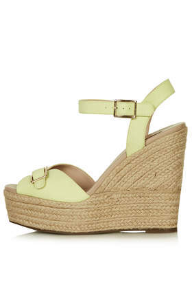 Wish Buckle Espadrilles - predominant colour: primrose yellow; occasions: casual; material: fabric; embellishment: buckles; heel: wedge; toe: open toe/peeptoe; style: standard; finish: plain; pattern: plain; heel height: very high; shoe detail: platform; season: s/s 2014